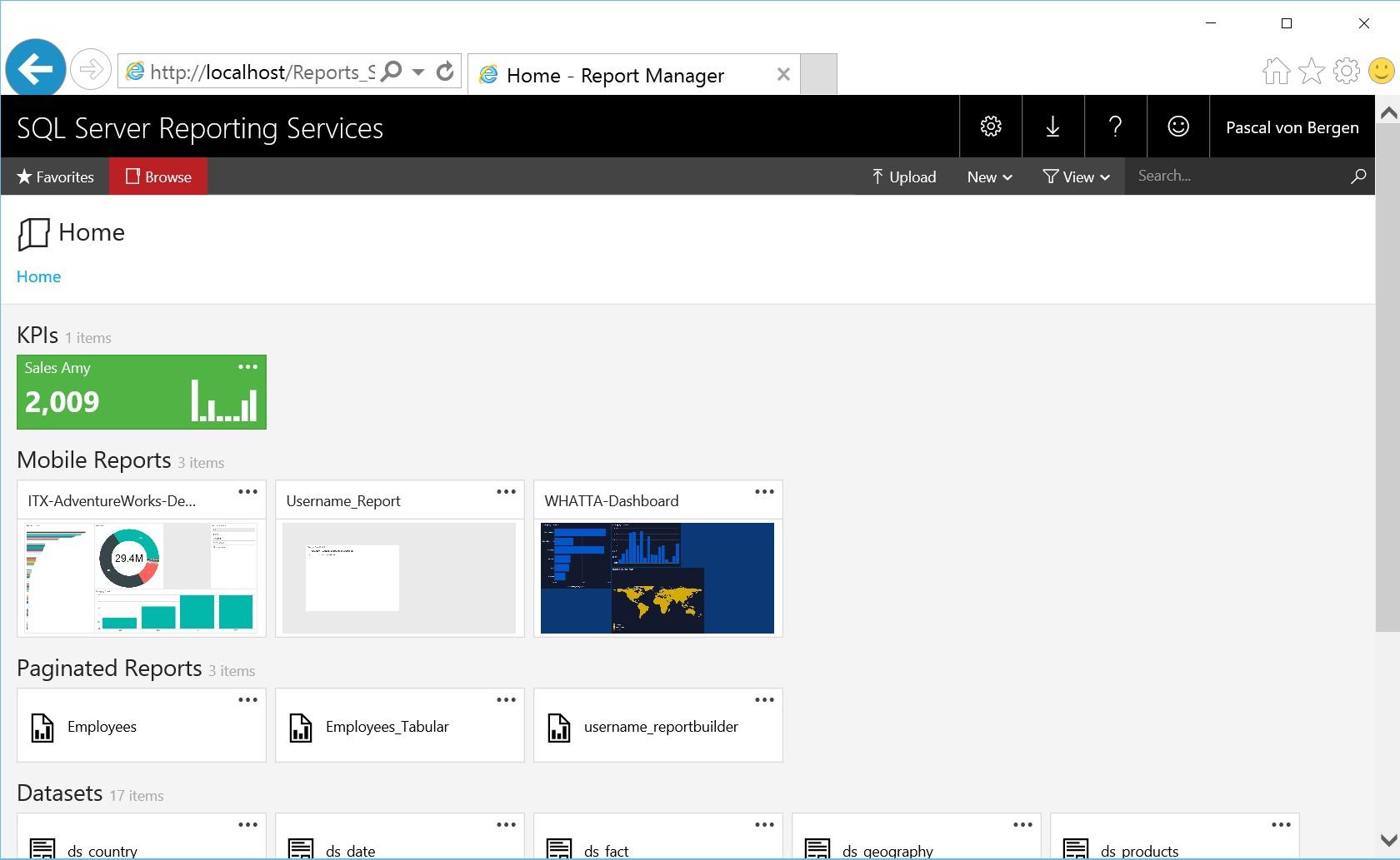 Abbildung 11: Mobile Report publiziert im SSRS Portal
