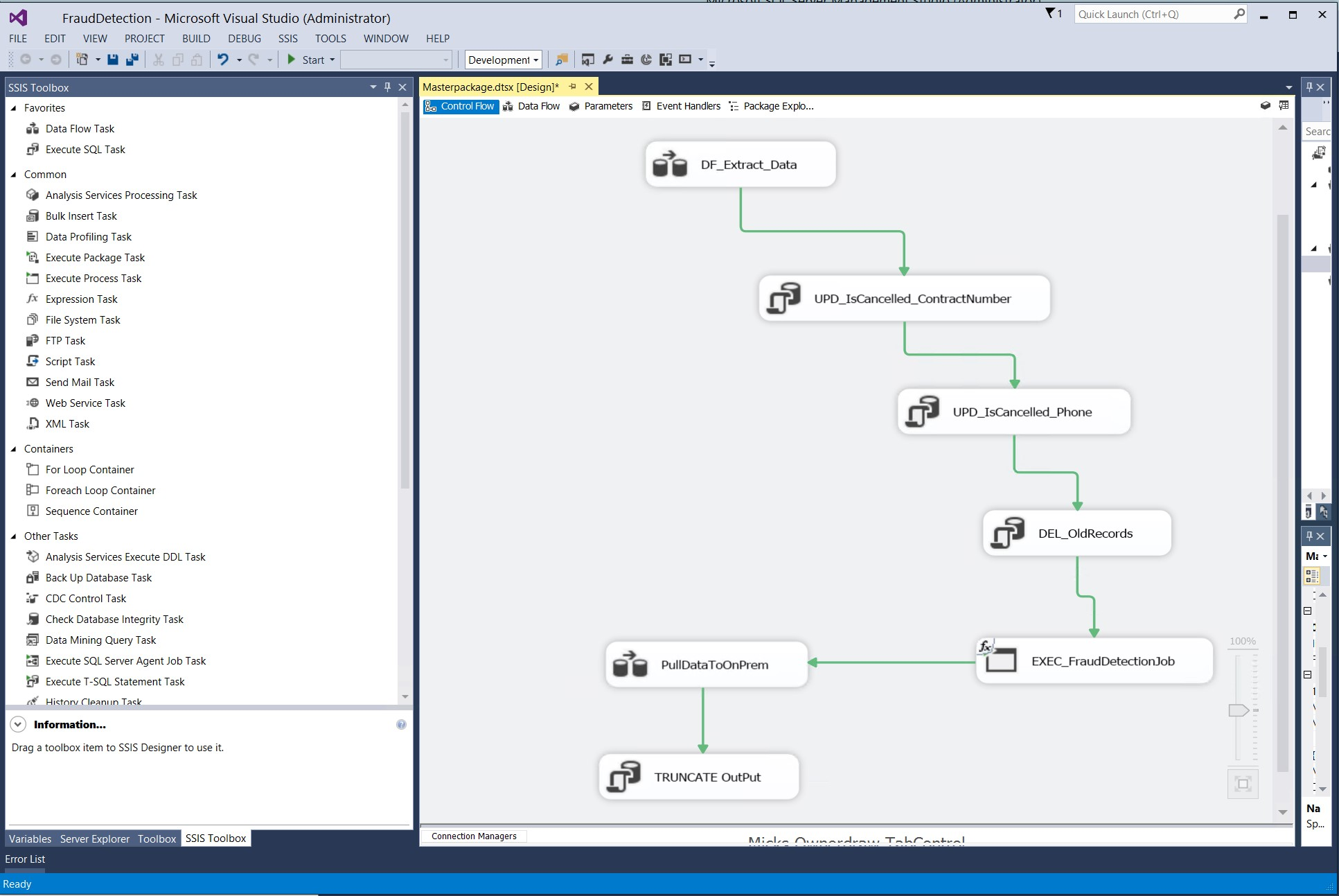 Figure 2: Screenshot from Visual Studio showing the workflow generated with Microsoft SQL Integration Services (click for full size)